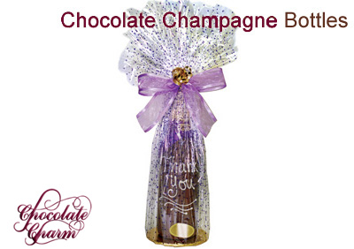 Give a traditional gift with a new twist ... 100% pure Swiss milk or Belgian dark chocolate. We'll also personalize your bottle with a chocolate message and top it off with a cello wrap just like a gift basket.